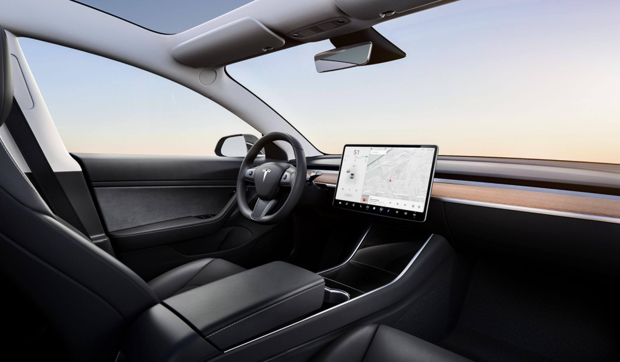Tesla model 3 prémiový interiér